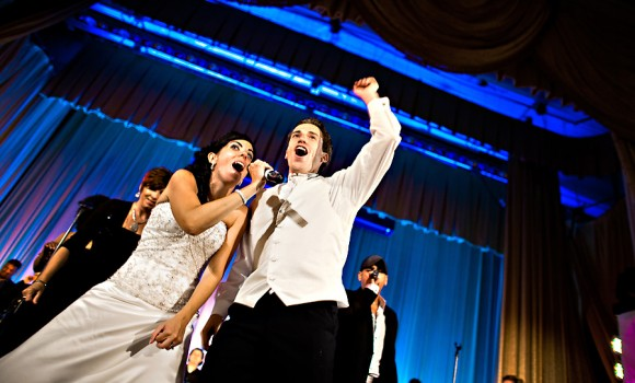 Ciociola philly wedding bride and groom singing